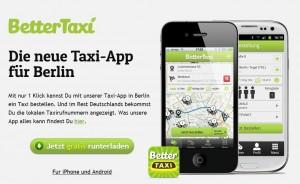 Bettertaxi ist der Name einer App, die das Carsharing -Prinzip auf die Taxibuchung ausweitet.
