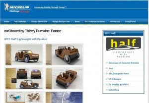 Teilnahme am Michelin-Designwettbewerb: Thierry Dumaine mit seinem Pappauto mit Hybridantrieb