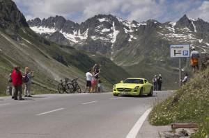 Wer behauptet hier noch, dass ein Elektroauto unattraktiv ist? Mercedes-Benz SLS AMG Coupé Electric Drive bei der Silvretta 2012.